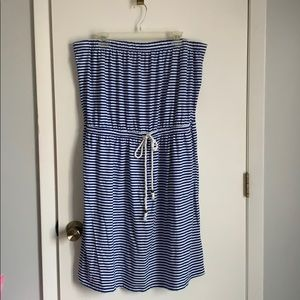 GAP strapless, blue and white striped, knit dress